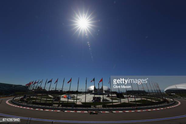 Sergey Sirotkin of Russia driving the Renault Sport Formula One Team Renault RS17 on track during practice for the Formula One Grand Prix of Russia...