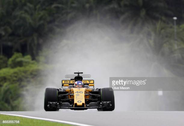 Sergey Sirotkin of Russia driving the Renault Sport Formula One Team Renault RS17 on track during practice for the Malaysia Formula One Grand Prix at...