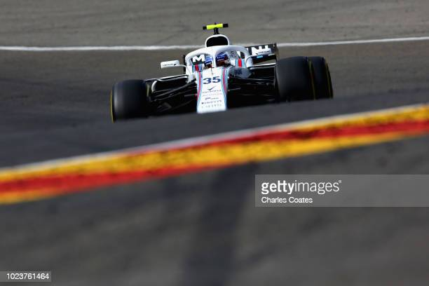 Sergey Sirotkin of Russia driving the Williams Martini Racing FW41 Mercedes on track during the Formula One Grand Prix of Belgium at Circuit de...