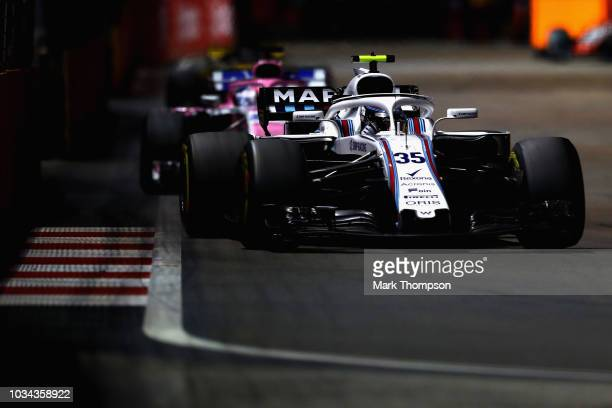 Sergey Sirotkin of Russia driving the Williams Martini Racing FW41 Mercedes on track during the Formula One Grand Prix of Singapore at Marina Bay...