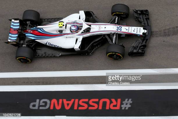 Sergey Sirotkin of Russia driving the Williams Martini Racing FW41 Mercedes on track during practice for the Formula One Grand Prix of Russia at...
