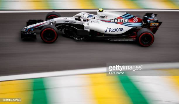 Sergey Sirotkin of Russia driving the Williams Martini Racing FW41 Mercedes on track during practice for the Formula One Grand Prix of Brazil at...