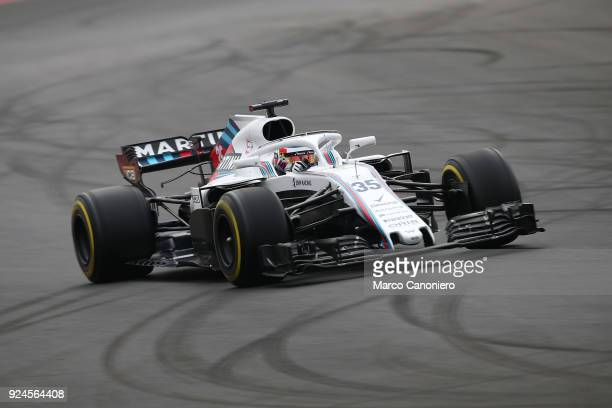 Sergey Sirotkin of Russia driving the Williams Martini Racing FW41 Mercedes on track during day one of F1 Winter Testing.
