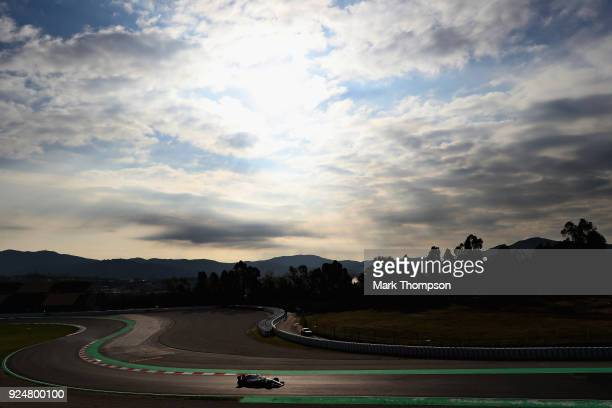 Sergey Sirotkin of Russia driving the Williams Martini Racing FW41 Mercedes on track during day two of F1 Winter Testing at Circuit de Catalunya on...