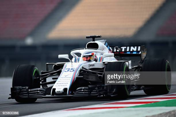 Sergey Sirotkin of Russia driving the Williams Martini Racing FW41 Mercedes on track during day four of F1 Winter Testing at Circuit de Catalunya on...
