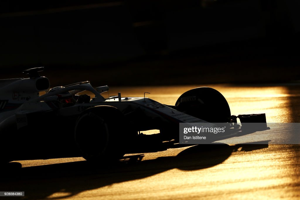 Sergey Sirotkin of Russia driving the (35) Williams Martini Racing FW41 Mercedes on track during day two of F1 Winter Testing at Circuit de Catalunya on March 7, 2018 in Montmelo, Spain.
