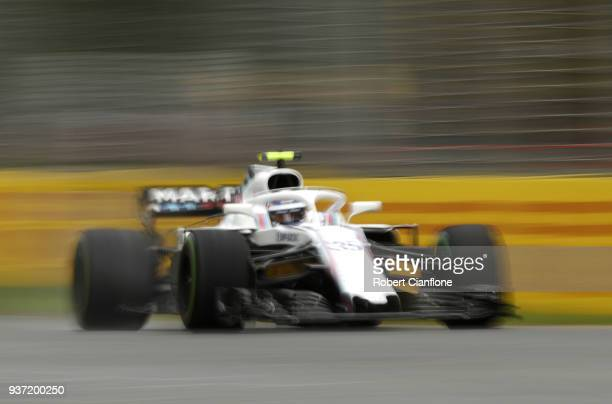 Sergey Sirotkin of Russia driving the Williams Martini Racing FW41 Mercedes on track during final practice for the Australian Formula One Grand Prix...