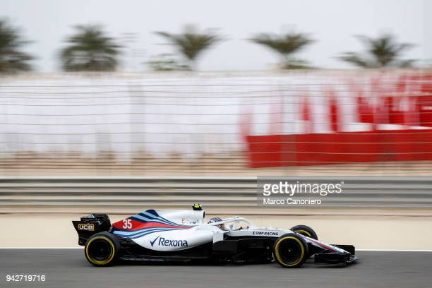 Sergey Sirotkin of Russia driving the Williams Martini Racing FW41 Mercedes on track during practice for the Bahrain Formula One Grand Prix