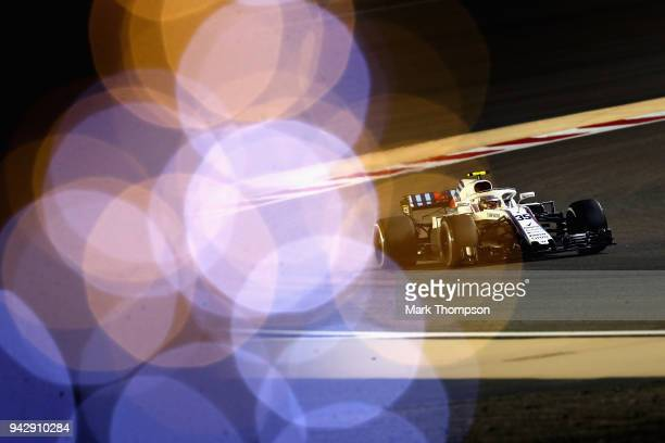 Sergey Sirotkin of Russia driving the Williams Martini Racing FW41 Mercedes on track during practice for the Bahrain Formula One Grand Prix at...