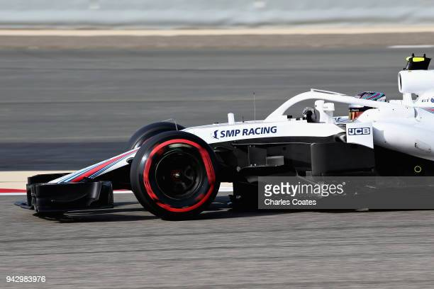 Sergey Sirotkin of Russia driving the Williams Martini Racing FW41 Mercedes on track during final practice for the Bahrain Formula One Grand Prix at...