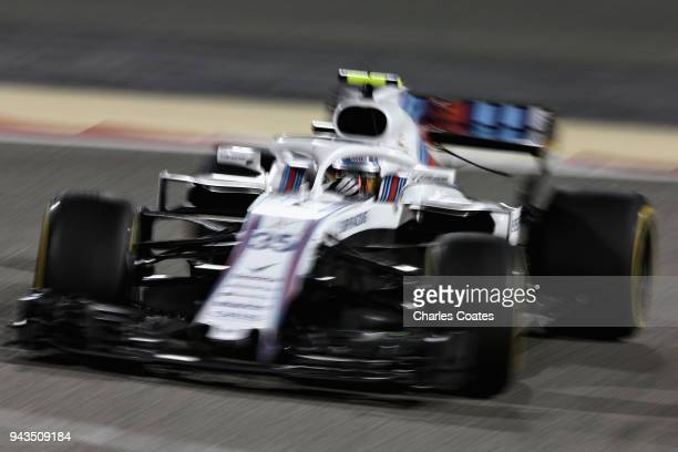 Sergey Sirotkin of Russia driving the Williams Martini Racing FW41 Mercedes on track during the Bahrain Formula One Grand Prix at Bahrain...