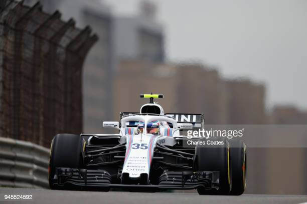 Sergey Sirotkin of Russia driving the Williams Martini Racing FW41 Mercedes on track during practice for the Formula One Grand Prix of China at...