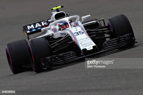 Sergey Sirotkin of Russia driving the Williams Martini Racing FW41 Mercedes on track during final practice for the Formula One Grand Prix of China at...