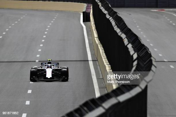 Sergey Sirotkin of Russia driving the Williams Martini Racing FW41 Mercedes on track during practice for the Azerbaijan Formula One Grand Prix at...