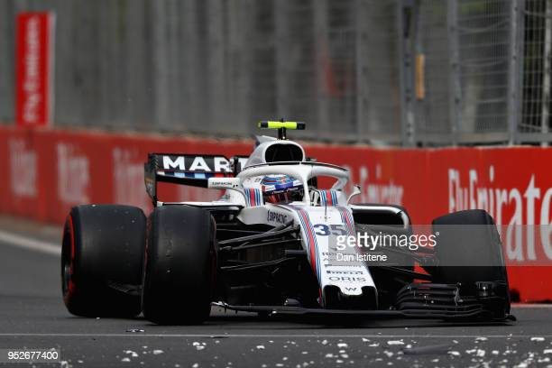 Sergey Sirotkin of Russia driving the Williams Martini Racing FW41 Mercedes after crashing during the Azerbaijan Formula One Grand Prix at Baku City...