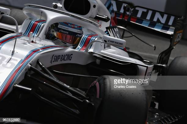 Sergey Sirotkin of Russia driving the Williams Martini Racing FW41 Mercedes on track during practice for the Monaco Formula One Grand Prix at Circuit...