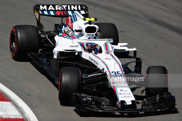 Sergey Sirotkin of Russia driving the Williams Martini Racing FW41 Mercedes on track during practice for the Canadian Formula One Grand Prix at...