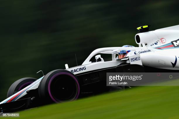 Sergey Sirotkin of Russia driving the Williams Martini Racing FW41 Mercedes on track during qualifying for the Formula One Grand Prix of Austria at...