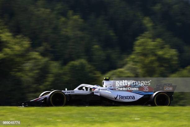 Sergey Sirotkin of Russia driving the Williams Martini Racing FW41 Mercedes on track during the Formula One Grand Prix of Austria at Red Bull Ring on...