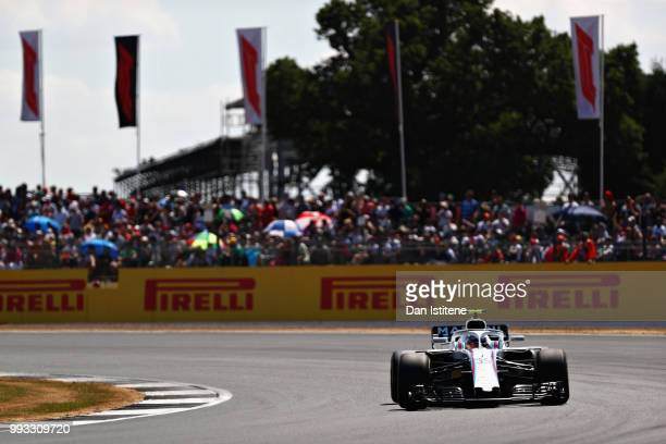Sergey Sirotkin of Russia driving the Williams Martini Racing FW41 Mercedes on track during qualifying for the Formula One Grand Prix of Great...