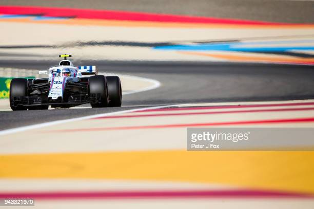 Sergey Sirotkin of Russian and Williams during qualifying for the Bahrain Formula One Grand Prix at Bahrain International Circuit on April 7 2018 in...