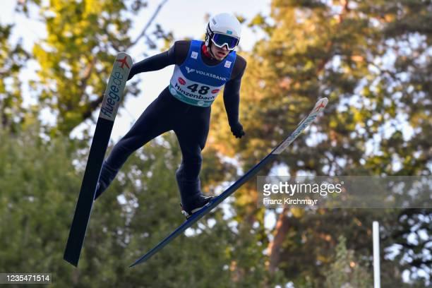 Sergey Tkachenko of Kazakhstan competes during the FIS Grand Prix Skijumping Hinzenbach at on February 6, 2021 in Eferding, Austria.