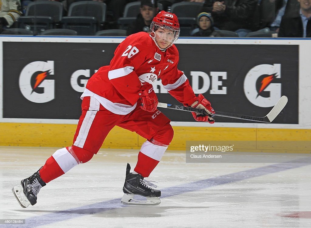 Sergey Tolchinsky #28 of the Sault Ste. Marie Greyhounds skates against the London Knights in an OHL game at Budweiser Gardens on December 5, 2014 in London, Ontario, Canada. The Greyhounds defeated the Knights 4-0.