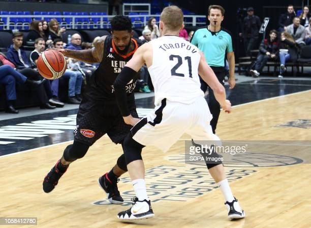 Sergey Toropov and Camerlon Clark seen in action during the game Basketball Champions League BC Nizhny Novgorod from Russia vs Le Mans from France...