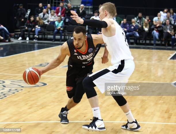 Sergey Toropov and Demitrius Conger seen in action during the game Basketball Champions League BC Nizhny Novgorod from Russia vs Le Mans from France...