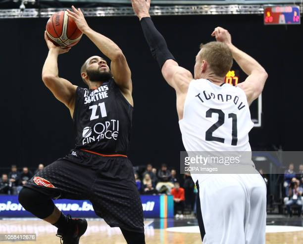 Sergey Toropov and Michael Thomson seen in action during the game Basketball Champions League BC Nizhny Novgorod from Russia vs Le Mans from France...