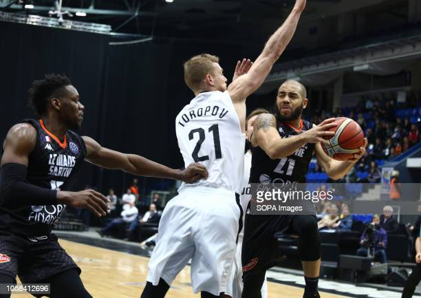 Sergey Toropov and Michael Thomson Wilfried Yeguete seen in action during the game Basketball Champions League BC Nizhny Novgorod from Russia vs Le...