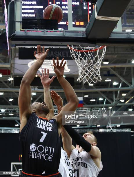 Sergey Toropov and Richard Hendrix seen in action during the game Basketball Champions League BC Nizhny Novgorod from Russia vs Le Mans from France...
