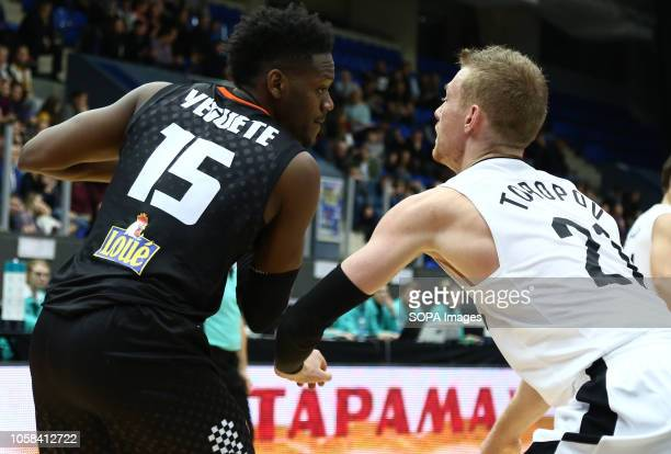 Sergey Toropov and Wilfried Yeguete seen in action during the game Basketball Champions League BC Nizhny Novgorod from Russia vs Le Mans from France...