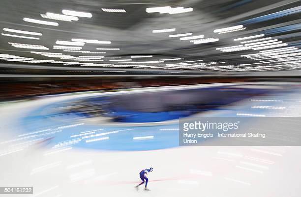 Sergey Trofimov of Russia competes in the Men's 5000m on day one of the 2016 ISU European Speed Skating Championships at the Minsk Arena on January 9...