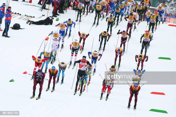 Sergey Ustiugov of Russia competes Alexander Bolshunov of Russia competes Martin Johnsrud Sundby of Norway competes Dario Cologna of Switzerland...
