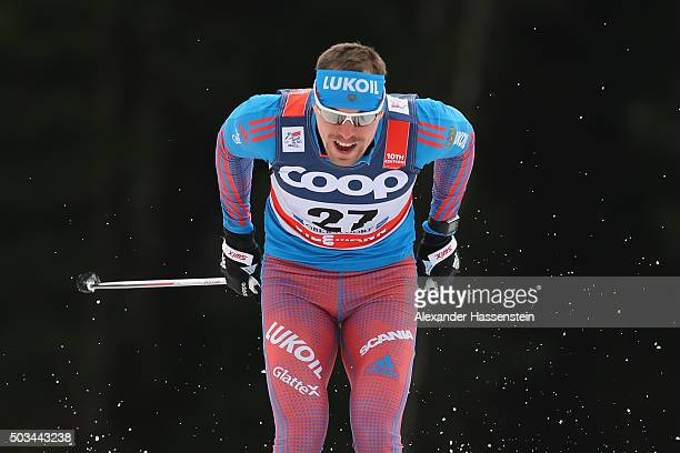 Sergey Ustiugov of Russia competes at the Mens 12km Classic Sprint Competition during day 1 of the FIS Tour de Ski event on January 5 2016 in...