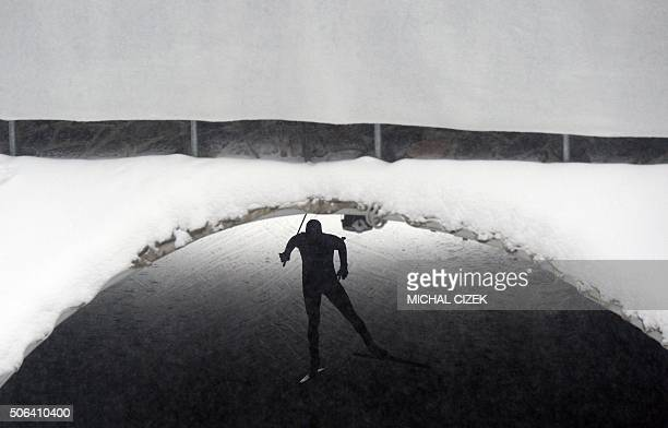 Sergey Ustiugov of Russia competes to place third in the men's 15 km Individual free event of the FIS Cross-Country World Cup on January 23, 2016 in...