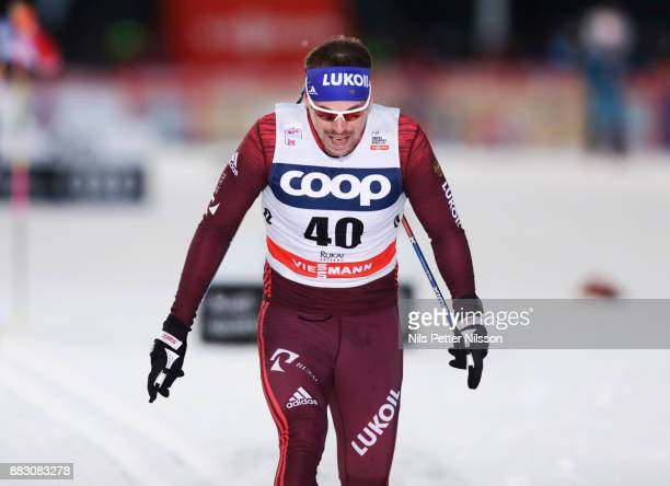 Sergey Ustiugov of Russia during the mens cross country 15K pursuit competition at FIS World Cup Ruka Nordic season opening at Ruka Stadium on...