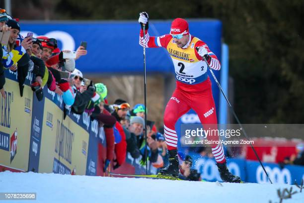 Sergey Ustiugov of Russia takes 2nd place during the FIS Nordic World Cup Men's and Women's Cross Country Final Climb on January 6, 2019 in Val Di...