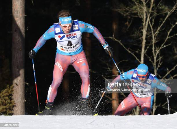 Sergey Ustiugov of Russia wins the silver medal during the FIS Nordic World Ski Championships Men's Cross Country Mass Start on March 5 2017 in Lahti...