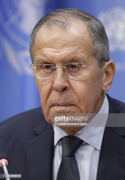 Sergey V Lavrov Minister for Foreign Affairs of the Russian Federation briefs reporters on the sidelines of the general debate of the General...