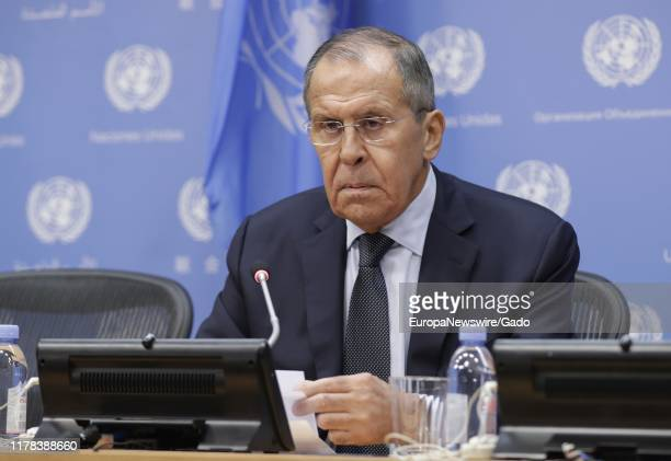 Sergey V Lavrov, Minister for Foreign Affairs of the Russian Federation, briefs reporters on the sidelines of the general debate of the General...