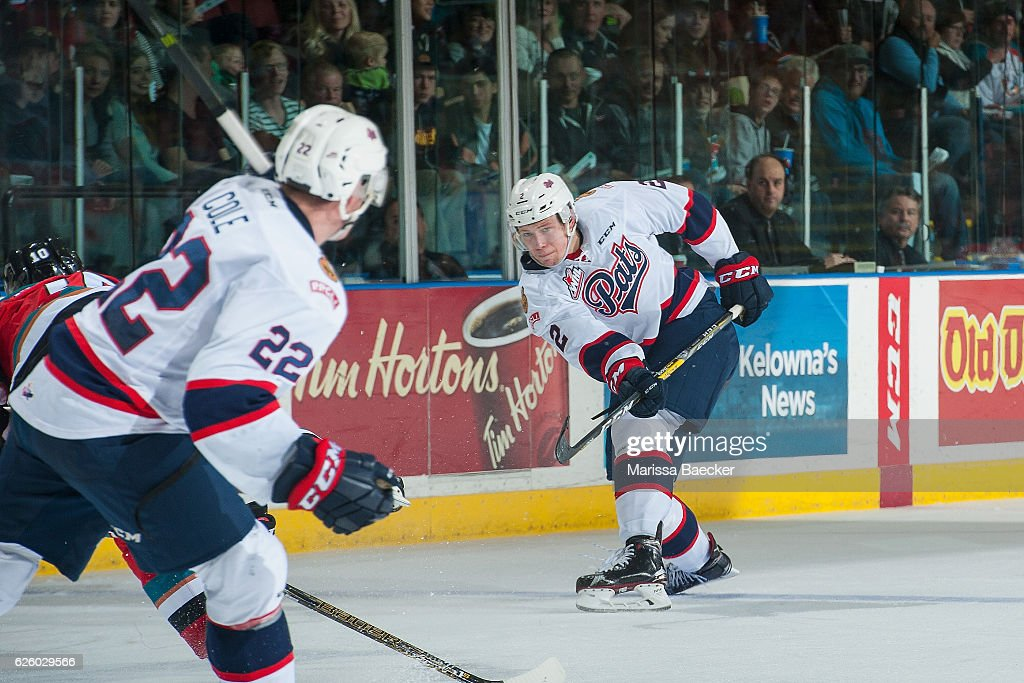 Sergey Zborovskiy #2 of the Regina Pats takes a slap shot during second period against the Regina Pats on November 26, 2016 at Prospera Place in Kelowna, British Columbia, Canada.