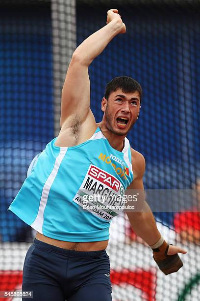 Serghei Margihev of Moldova in action during the final of the mens hammer on day five of The 23rd European Athletics Championships at Olympic Stadium...