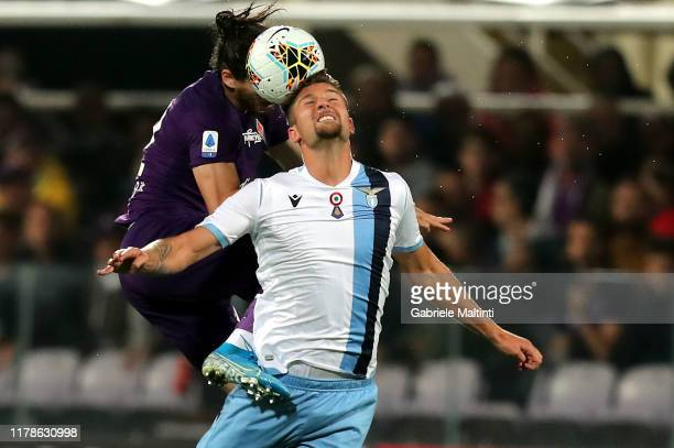 Serghej MilinkovicSavic of SS Lazio in action during the Serie A match between ACF Fiorentina and SS Lazio at Stadio Artemio Franchi on October 27...