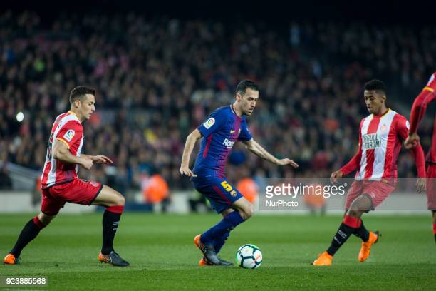 Sergi Busquets from Spain of FC Barcelona during La Liga match between FC Barcelona v Girona at Camp Nou Stadium in Barcelona on 24 of February 2018