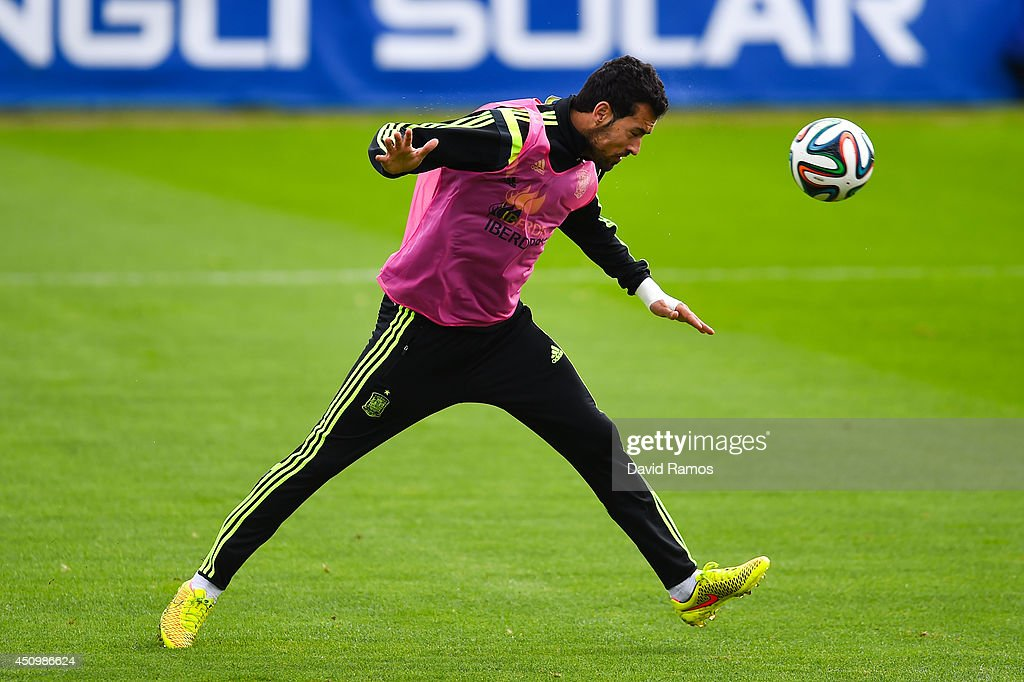 Sergi Busquets of Spain in action during a Spain training session at Centro de Entrenamiento do Caju on June 21, 2014 in Curitiba, Brazil.