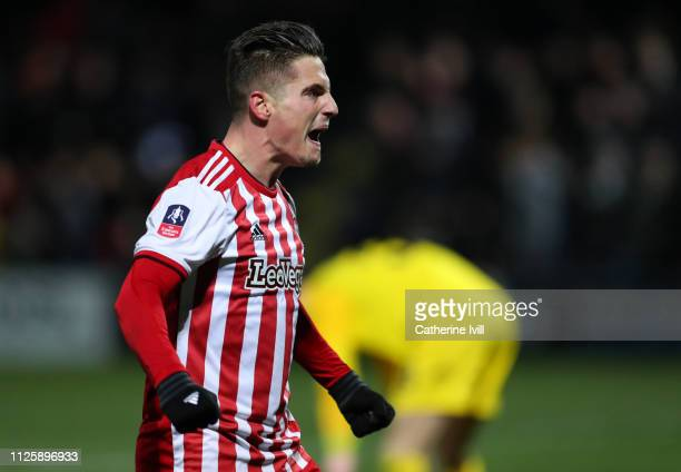 Sergi Canos of Brentford celebrates after scoring during the FA Cup Fourth Round match between Barnet and Brentford at The Hive on January 28, 2019...
