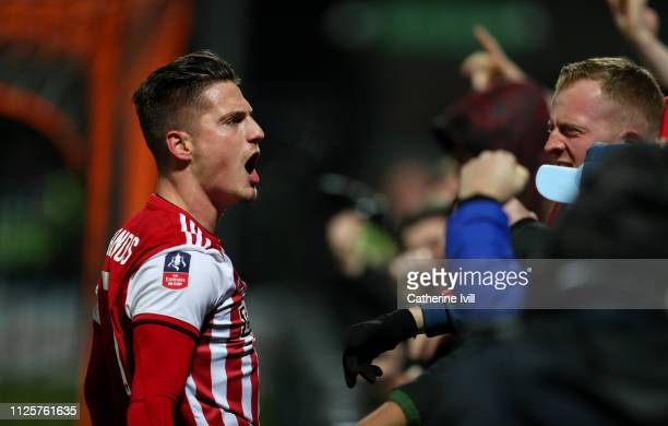 Sergi Canos of Brentford celebrates scoring his team's third goal during the FA Cup Fourth Round match between Barnet and Brentford at The Hive on...