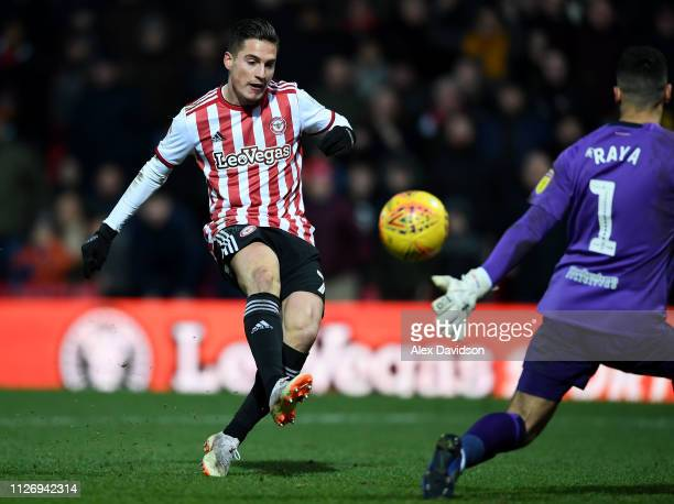 Sergi Canos of Brentford scores his sides fifth goal during the Sky Bet Championship match between Brentford and Blackburn Rovers at Griffin Park on...